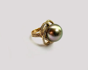Diamond Love Knot South Sea Pearl Ring