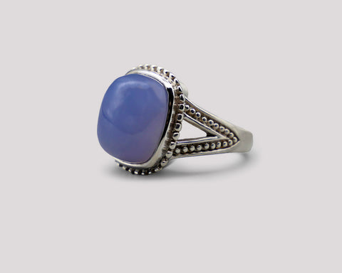 Chalcedony Dome Silver Ring