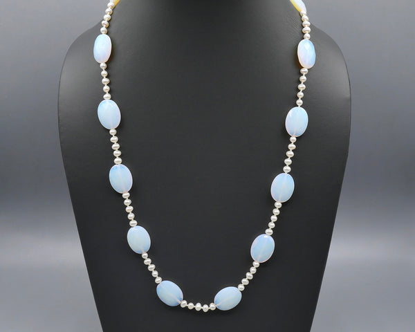 Fresh Water Pearl/Chalcedony Necklace