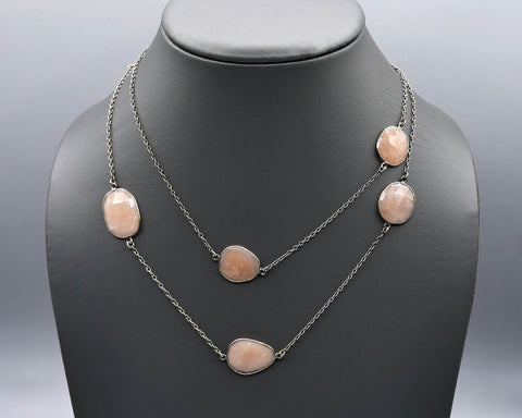 Chain Gang Collection- Large, Peach Chalcedony Stone Necklace