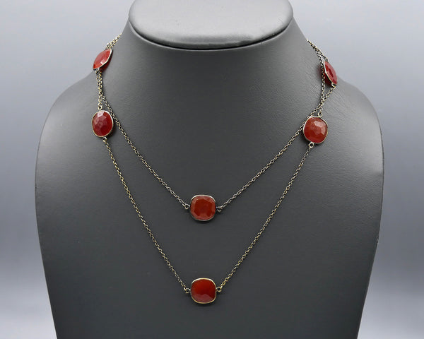 Chain Gang- Carnelian Small Stone Necklace and Large Stone Necklace