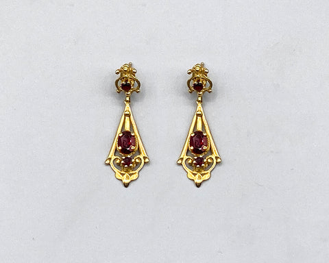 Say It In Gold - Garnet Gala Drop Earrings