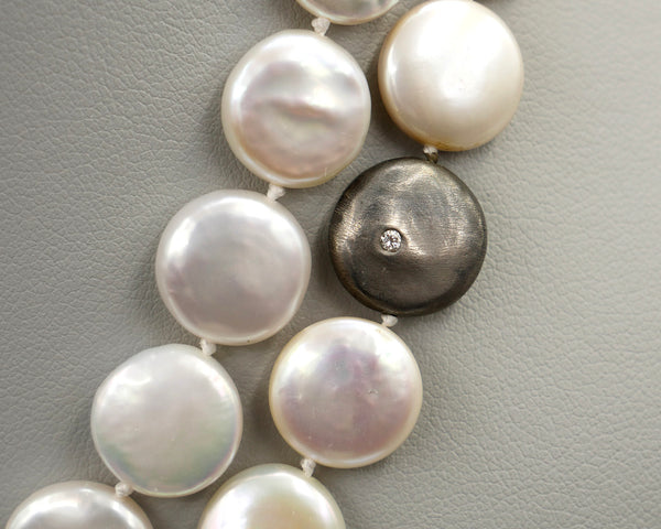 Coin Pearl Necklace with Black Rhodium Diamond Discs