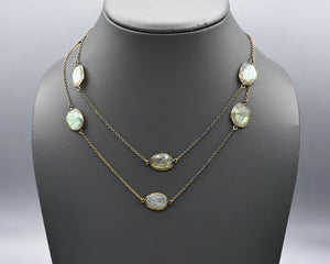 Chain Gang Collection- Green Rutilated Quartz Stone Necklace