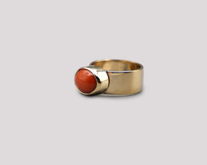 Wide Band Coral Ring