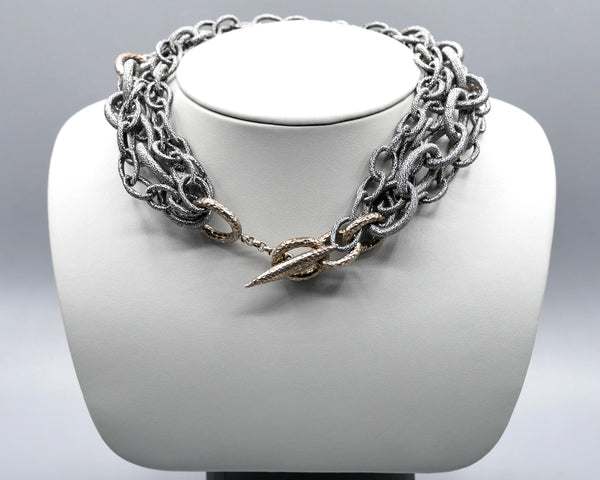 Silk Link Necklace - Metallic Gunmetal multi-strand toggle choker