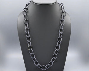 Silk Link Necklace - Metallic Mid-night Navy