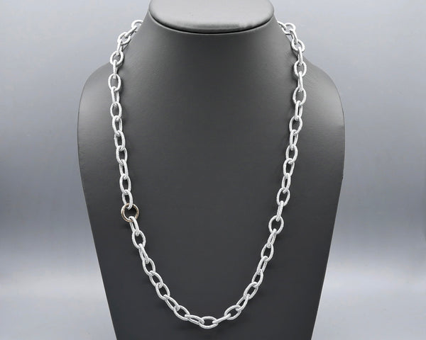 Silk Link Necklace - Metallic Silver