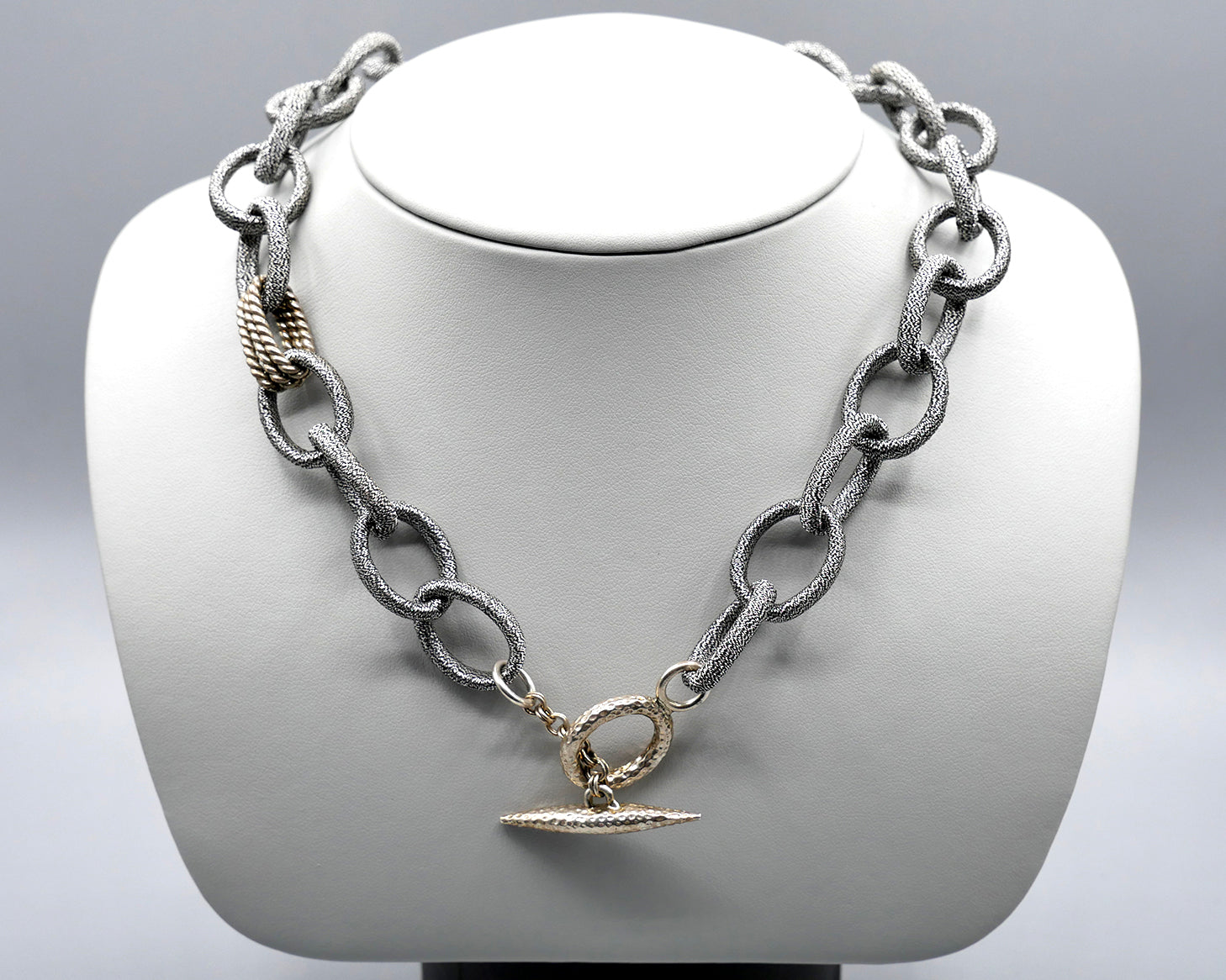 Silk Link Necklace- Metallic Gunmetal large link toggle necklace