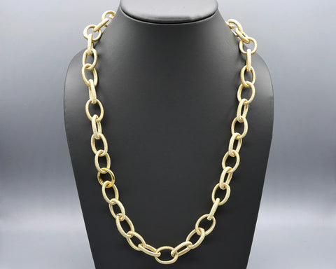 Silk Link Necklace- Metallic Gold