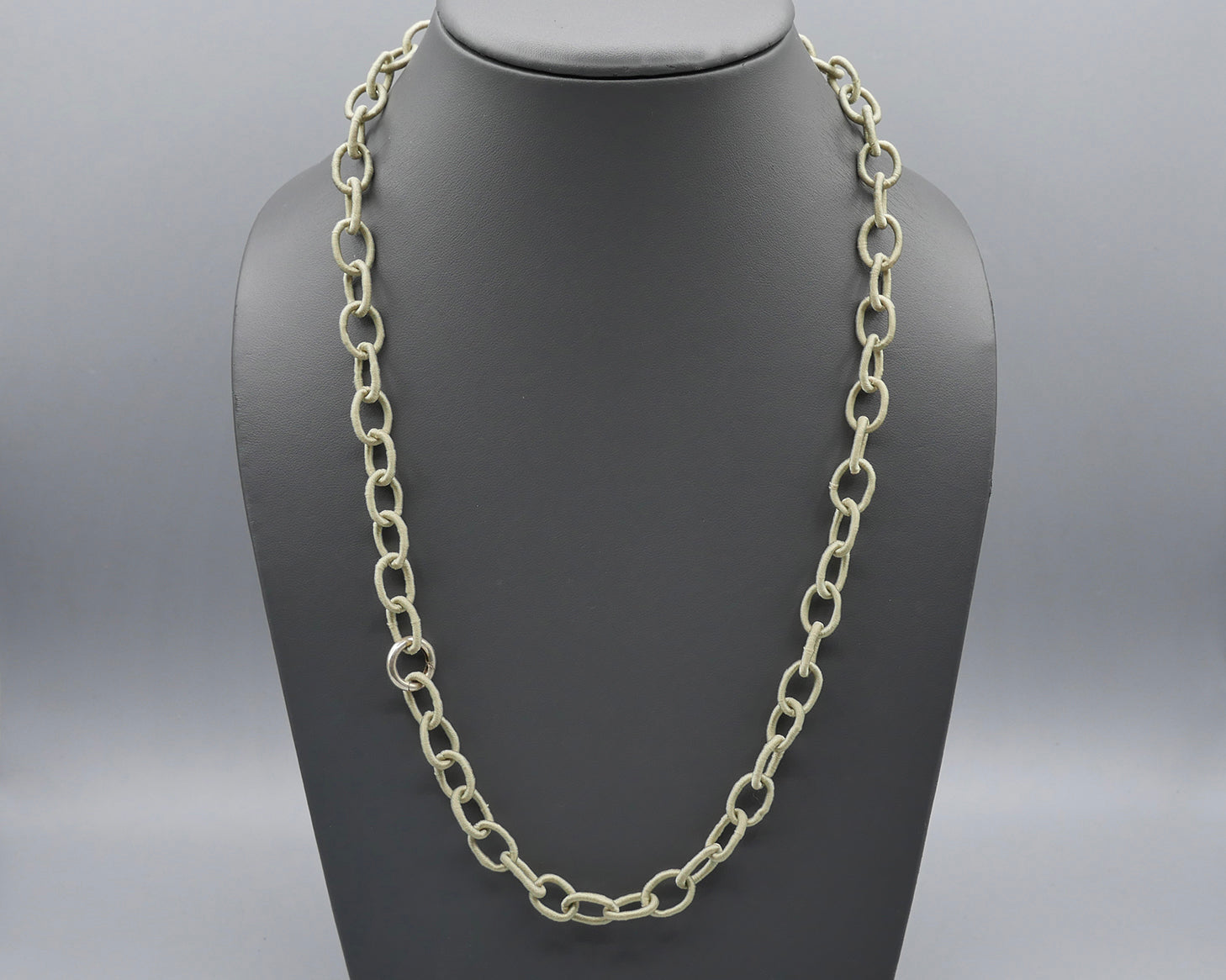Silk Link Necklace - Non-Metallic Light Khaki