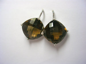 Smokey Topaz Cushion-Cut Wire Drop Earrings