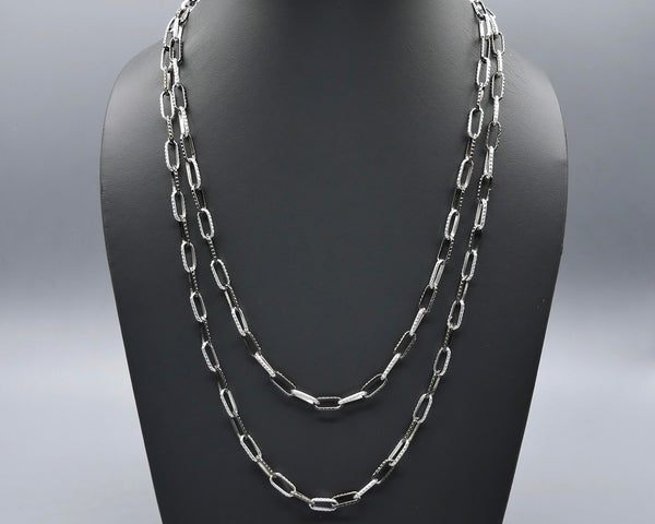 Two-Tone Black/White Link Necklace
