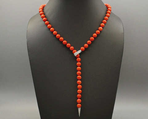 Coral/Diamond Necklace