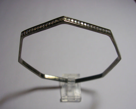 Octagonal Bangle Bracelet With Diamonds