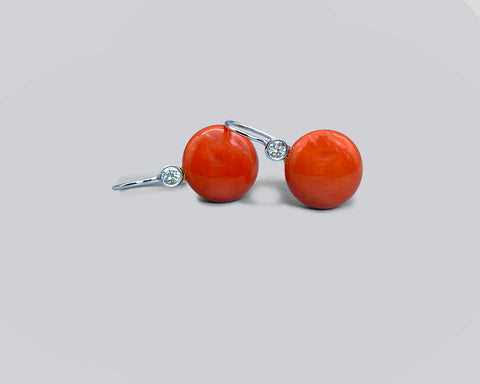 Coral Button Wire Drop Earrings