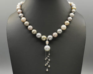 Pastel South Sea Pearl Necklace with Diamond Waterfall Pendant