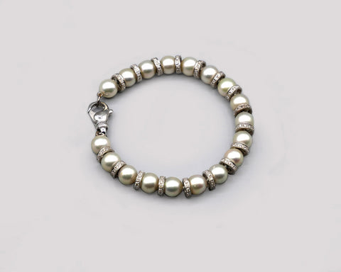 Natural grey pearl/diamond rondel bracelet
