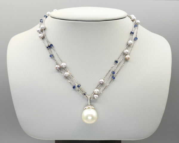 Grey Pearl/Sapphire Rondel Necklace