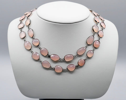 Pink Chalcedony Oval Necklace