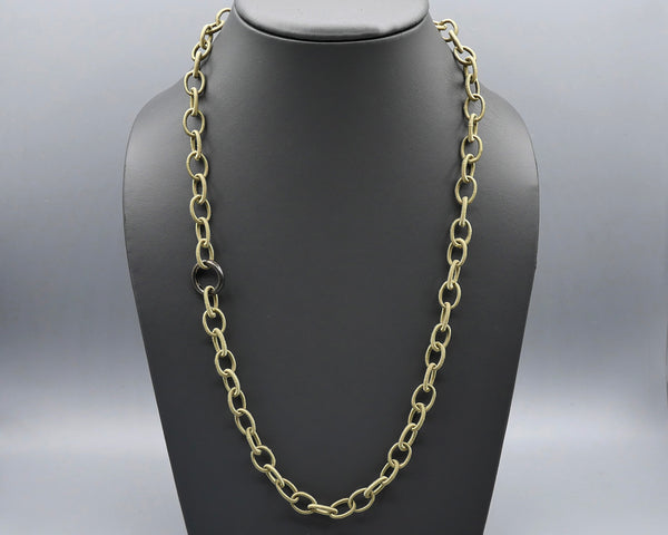 Silk Link Necklace - Non-Metallic Khaki Green