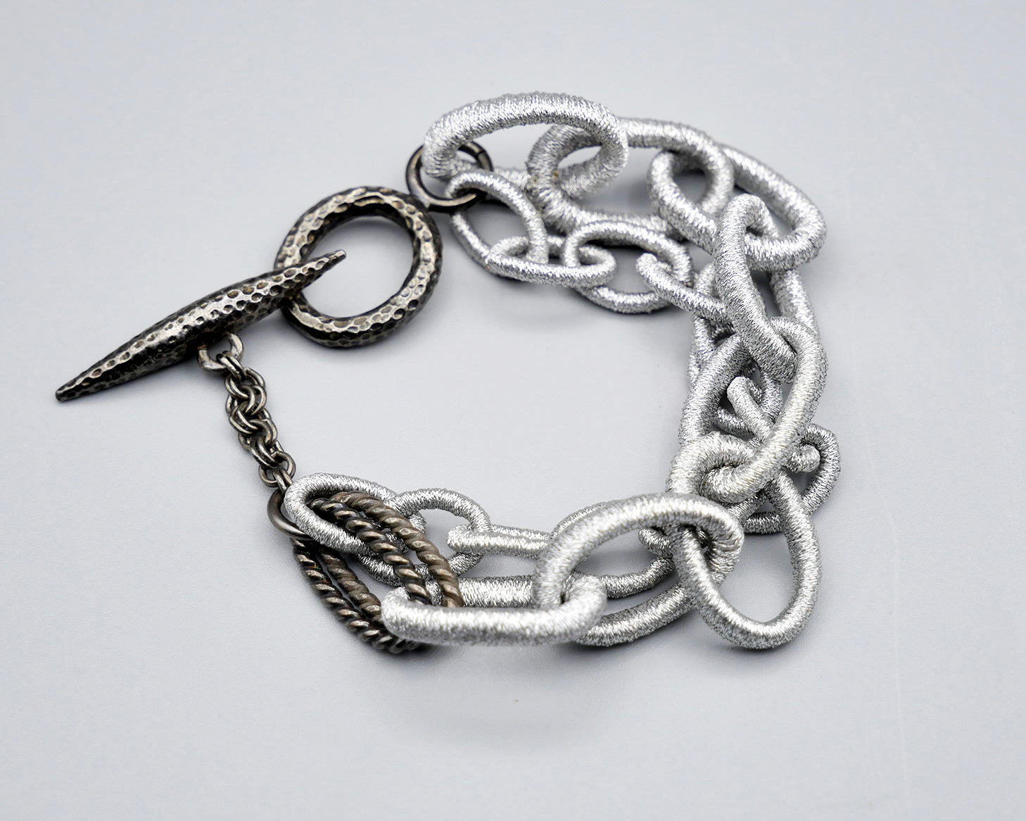 Double Row Silk Link Toggle Bracelet- Metallic silver