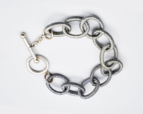Single Strand Silk Link Bracelet - Metallic Gunmetal