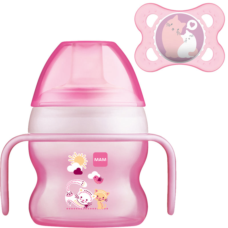 MAM Starter Cup Pink 150ml with Handles and Soother