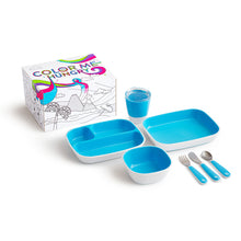 Load image into Gallery viewer, Munchkin Colour Me Hungry Dinning Set Blue 7Pc
