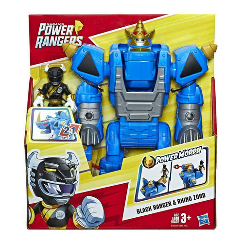 Playskool Heroes Power Rangers Morphin Zords Black Ranger and Rhino Zord