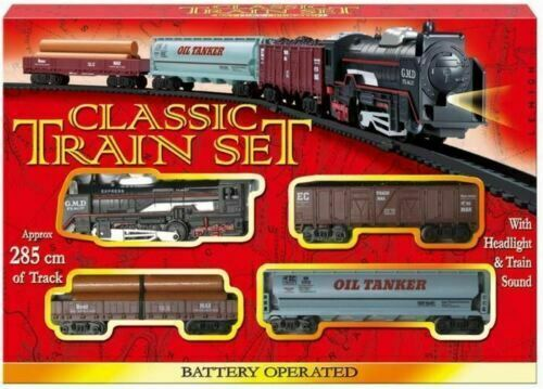 Classic Battery Operated Train Set With Tracks Light Engine