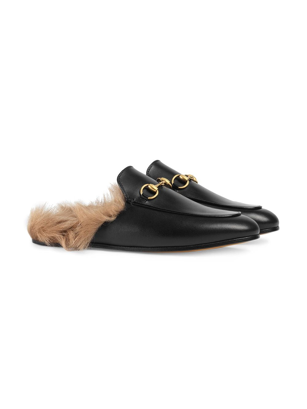 Black Princetown Leather Fur Lined Mules