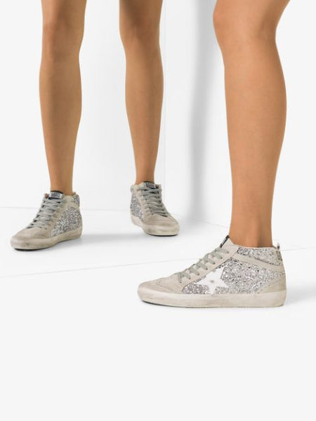 Mid Star Glittered Sneakers In Mirror