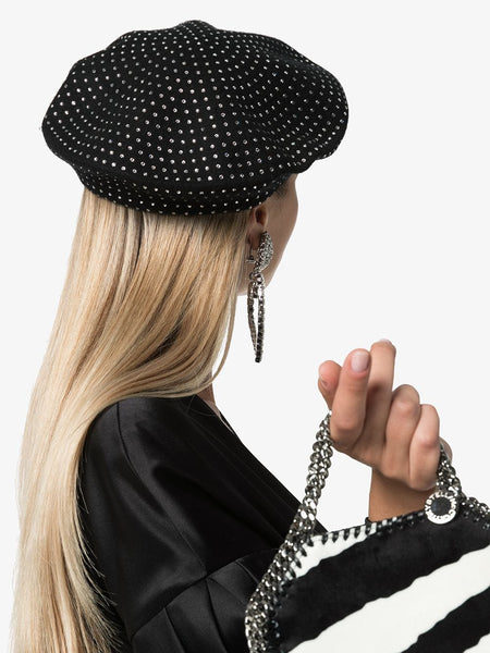 Diamanté Embellished Beret on model