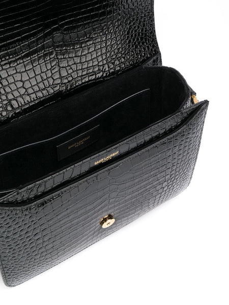 Embossed Crocodile-Effect Le 61 Saddle Bag