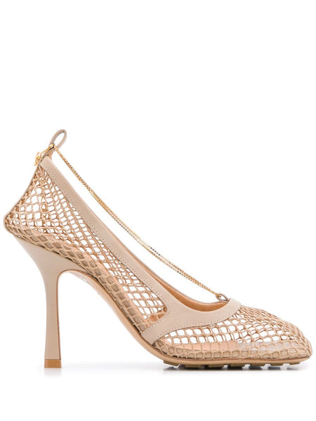 Chain-Embelished Mesh Pumps