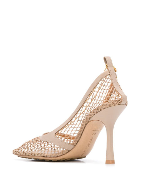 Chain-Embelished Mesh Pumps Back