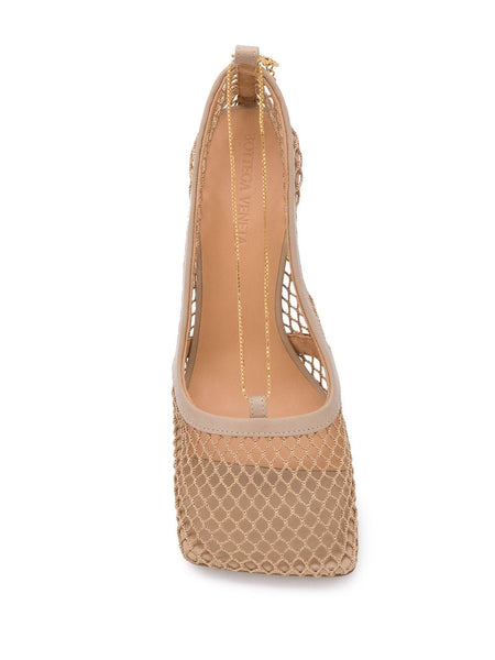 Chain-Embelished Mesh Pumps Top