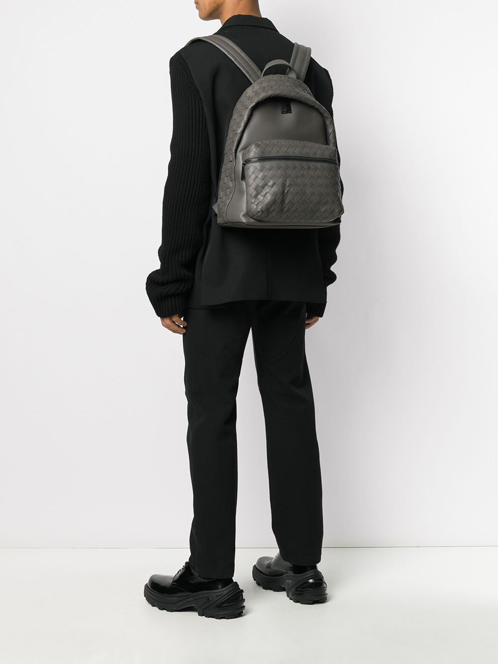 Intrecciato Weave Backpack On Model