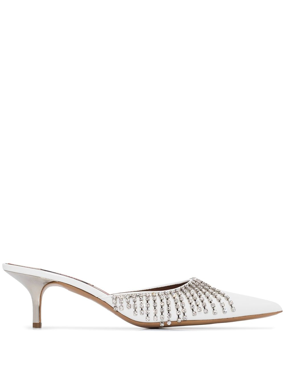 50mm Fringed Crystal-Embellished Mules