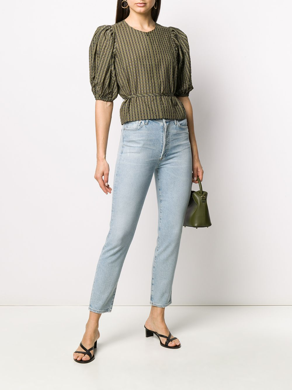 High-Rise Cropped Jeans On Model