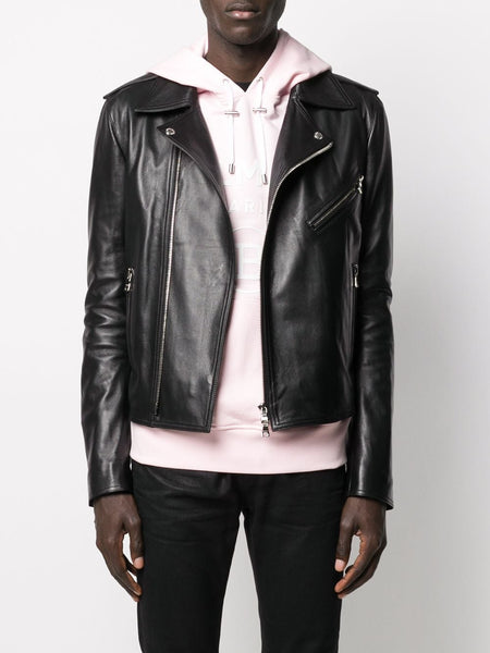 Off-Center Leather Jacket On Model