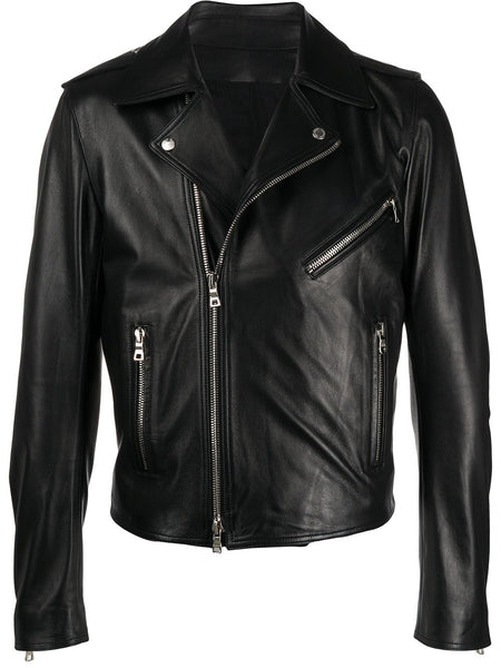 Off-Center Leather Jacket