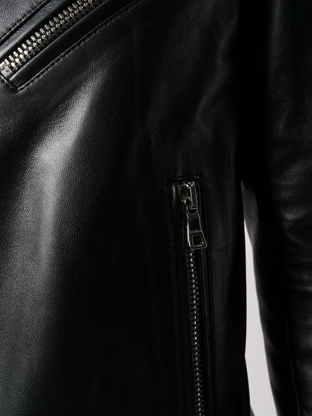 Off-Center Leather Jacket Details