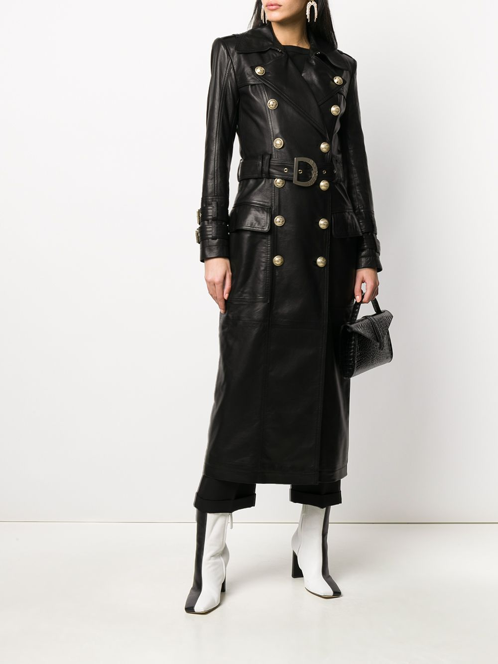 Long Black Leather Trench Coat (On Model)