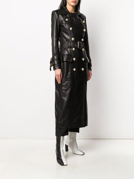 Long Black Leather Trench Coat (Left)