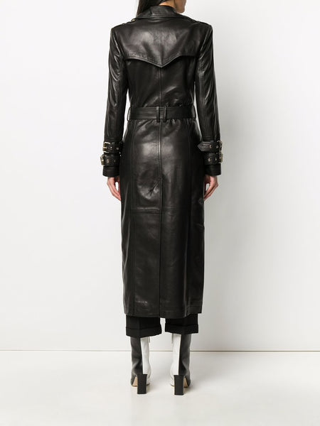 Long Black Leather Trench Coat (Back)