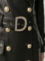 Long Black Leather Trench Coat (Belt)