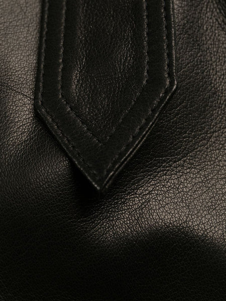 Long Black Leather Trench Coat (Detail)