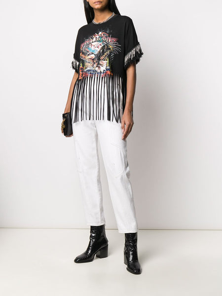 Printed Fringed T-Shirt Styled